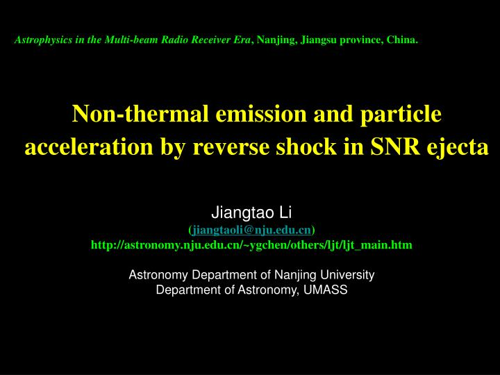 Non thermal emission and particle acceleration by reverse shock in snr ejecta