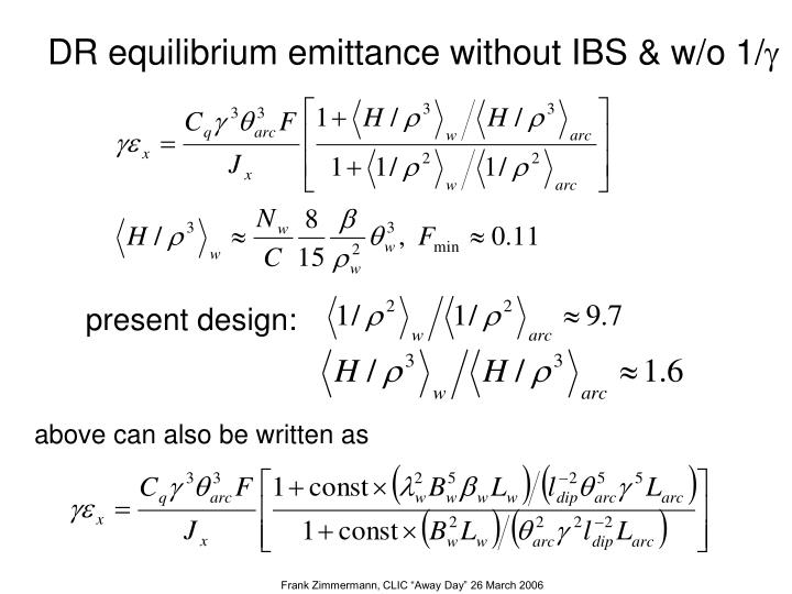 DR equilibrium emittance without IBS & w/o 1/