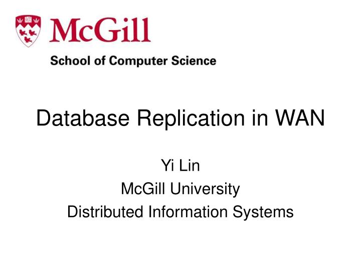 Database replication in wan