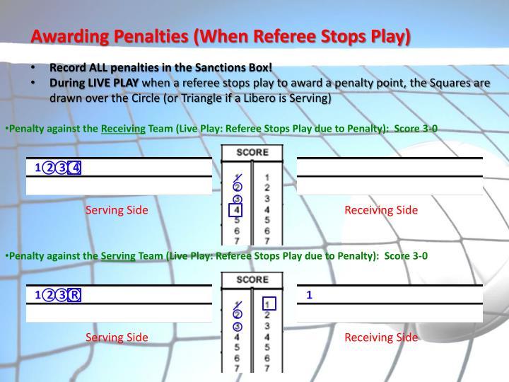 Awarding Penalties (When Referee Stops Play)