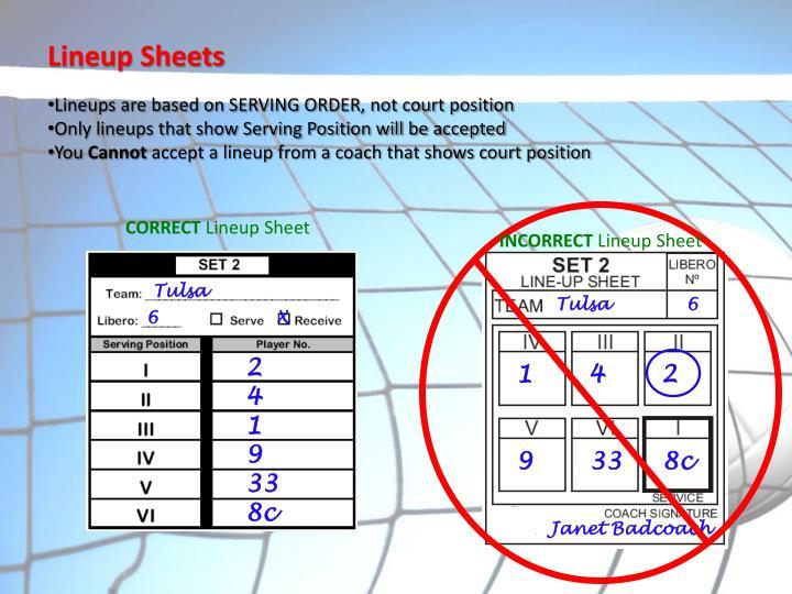 Lineup Sheets