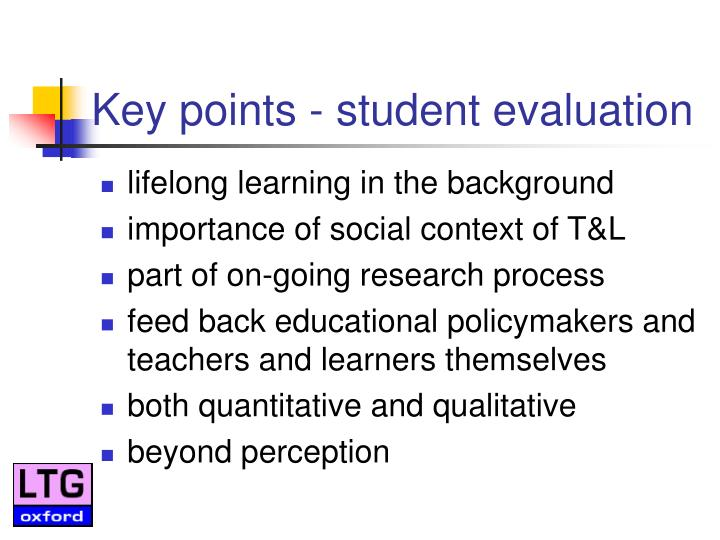 Key points - student evaluation