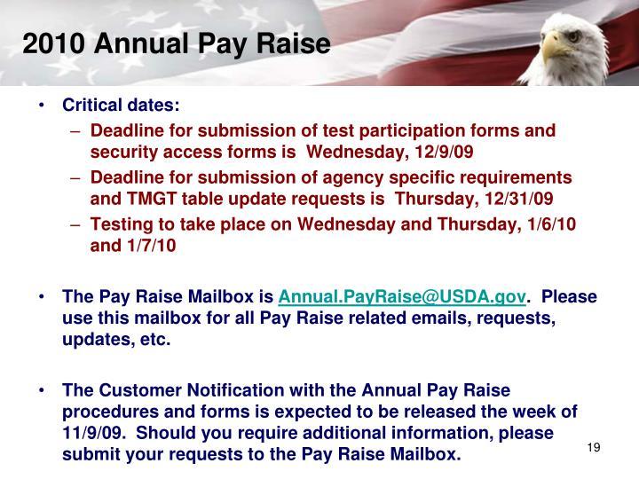 2010 Annual Pay Raise