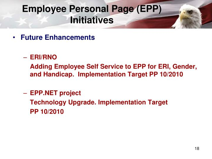 Employee Personal Page (EPP) Initiatives