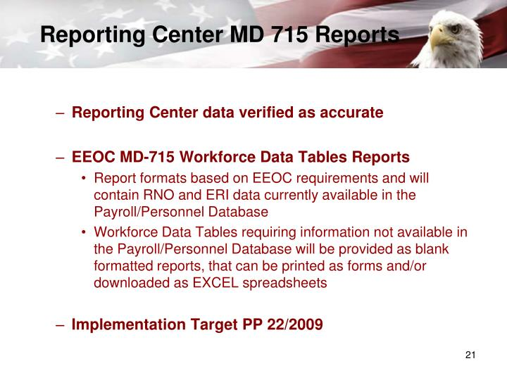 Reporting Center MD 715 Reports