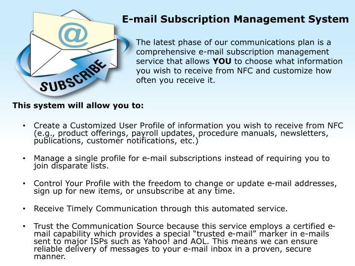 E-mail Subscription Management System