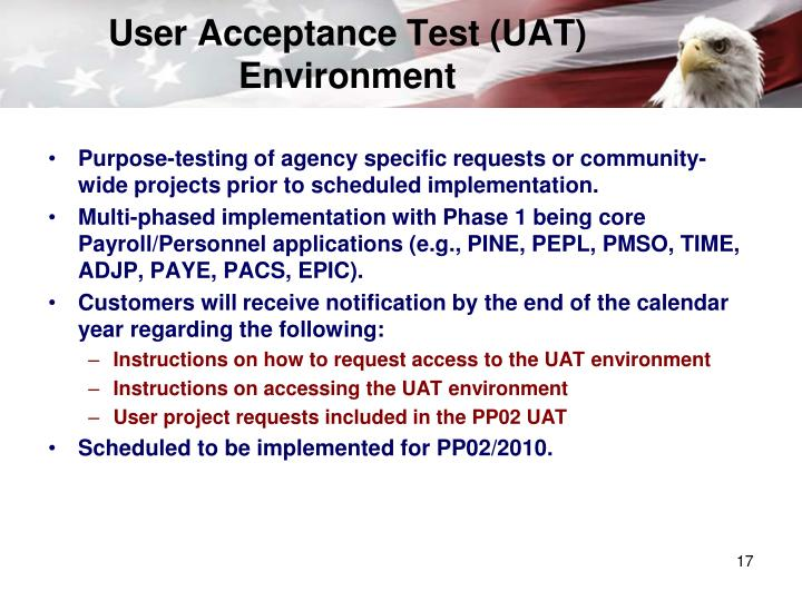 User Acceptance Test (UAT) Environment