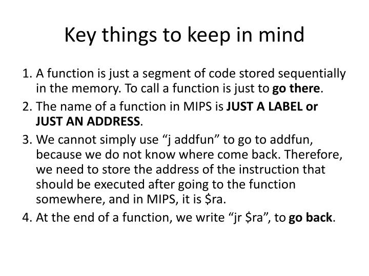 Key things to keep in mind