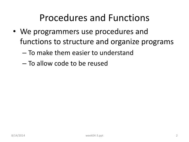 Procedures and functions