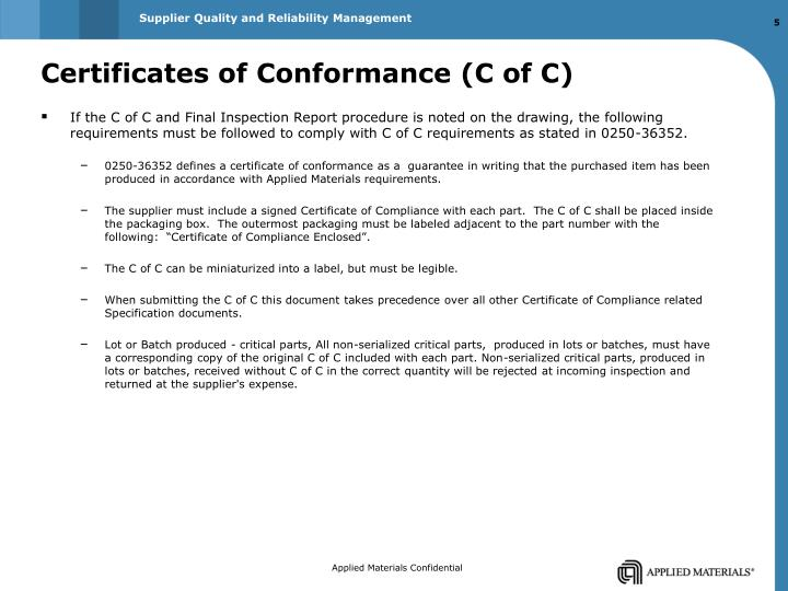 Ppt presentation for the control of critical dimensions for Certificate of conformance template