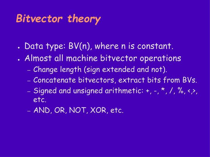 Bitvector theory