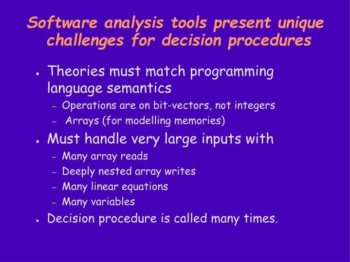 Software analysis tools present unique challenges for decision procedures