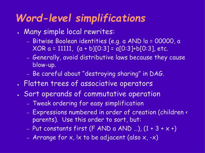 Word-level simplifications