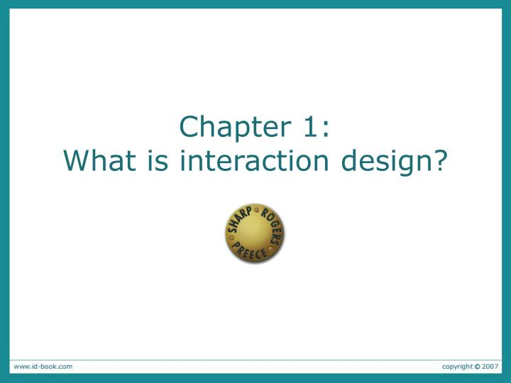 chapter 1 what is interaction design n.