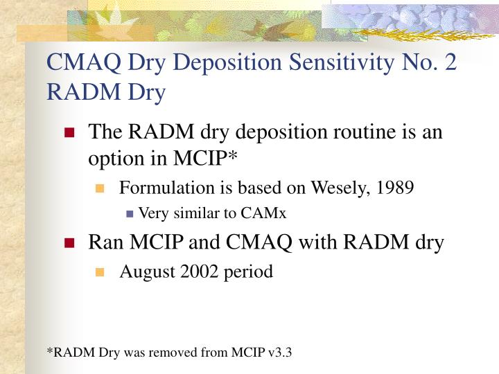 CMAQ Dry Deposition Sensitivity No. 2