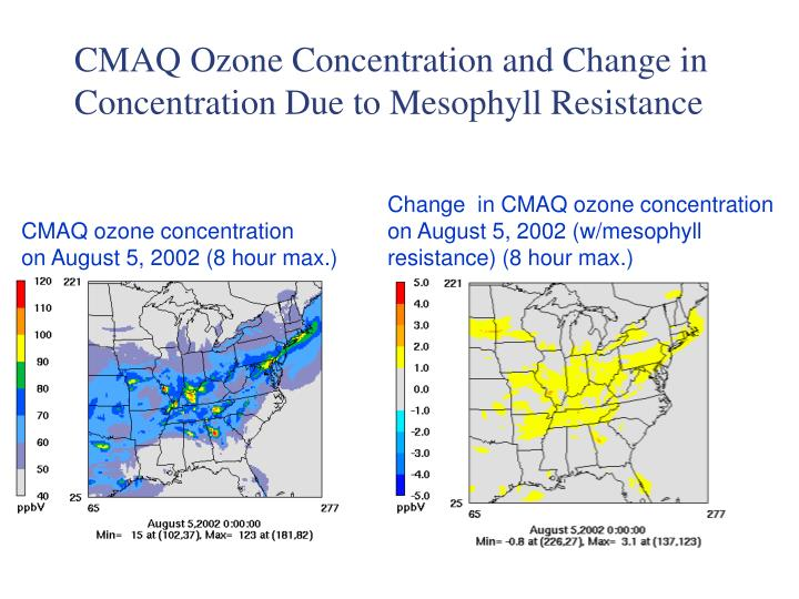 CMAQ Ozone Concentration and Change in Concentration Due to Mesophyll Resistance