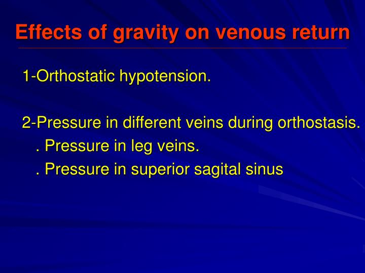 Effects of gravity on venous return