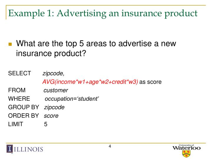 Example 1: Advertising an insurance product