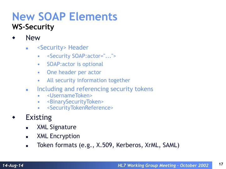 New SOAP Elements
