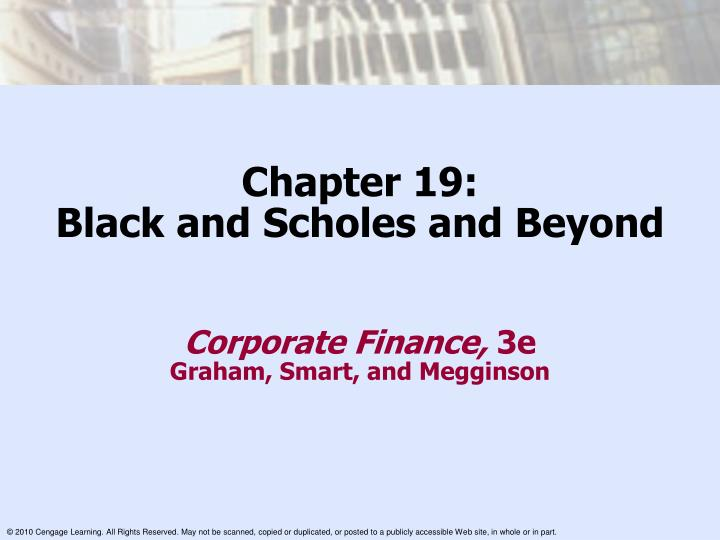 Chapter 19 black and scholes and beyond