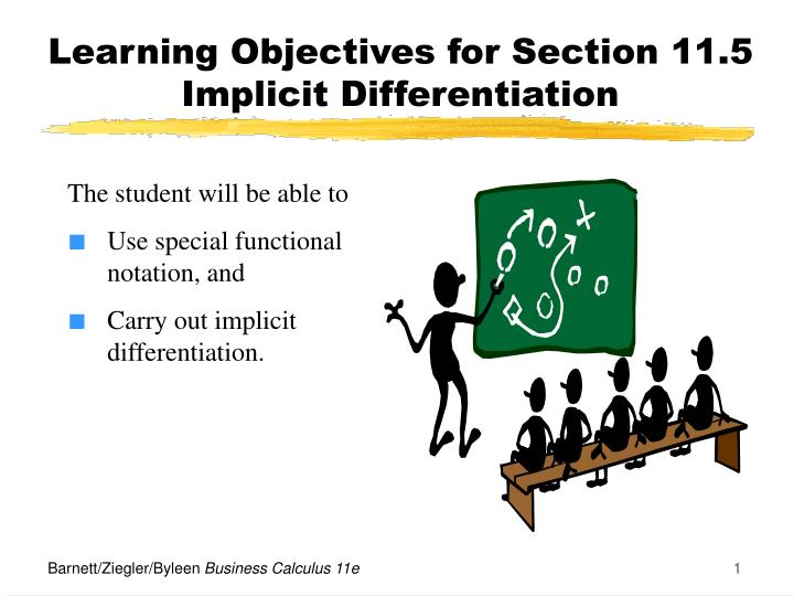 learning objectives for section 11 5 implicit differentiation n.