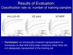 results of evaluation classification rate vs number of training samples