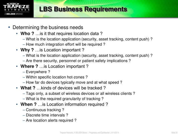 LBS Business Requirements