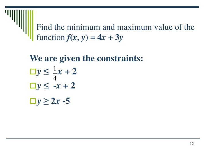 Find the minimum and maximum value of the function