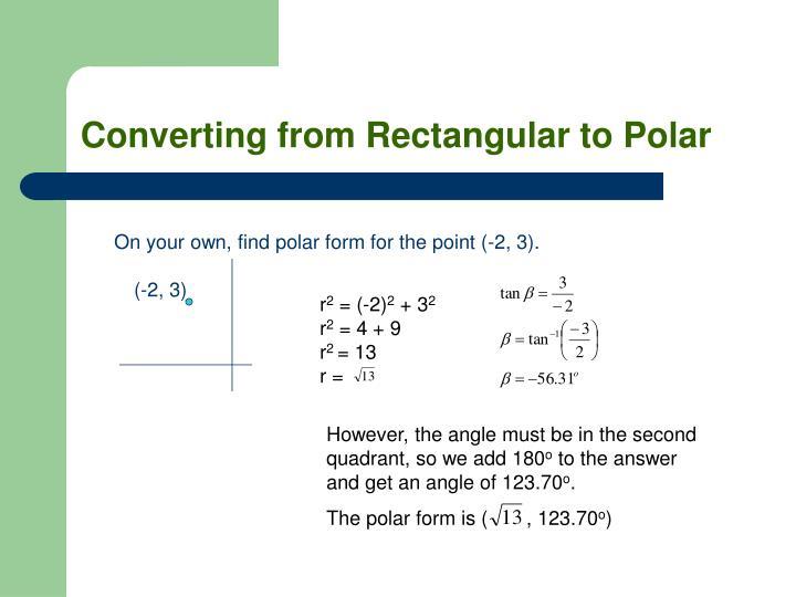 Converting from Rectangular to Polar