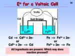 e o for a voltaic cell