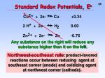 standard redox potentials e o