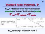 standard redox potentials e o2