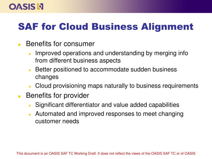 SAF for Cloud Business Alignment