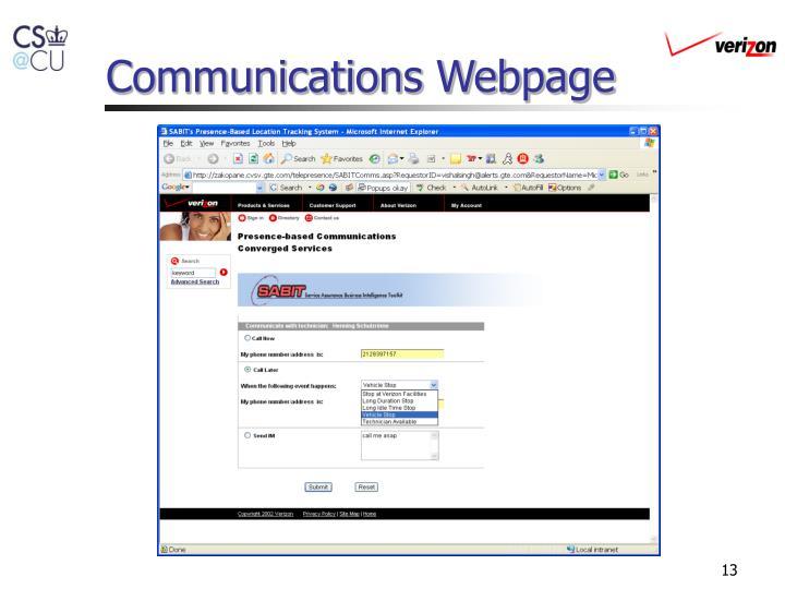 Communications Webpage