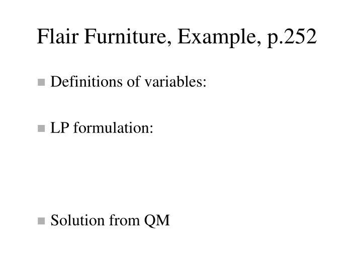 Flair Furniture, Example, p.252