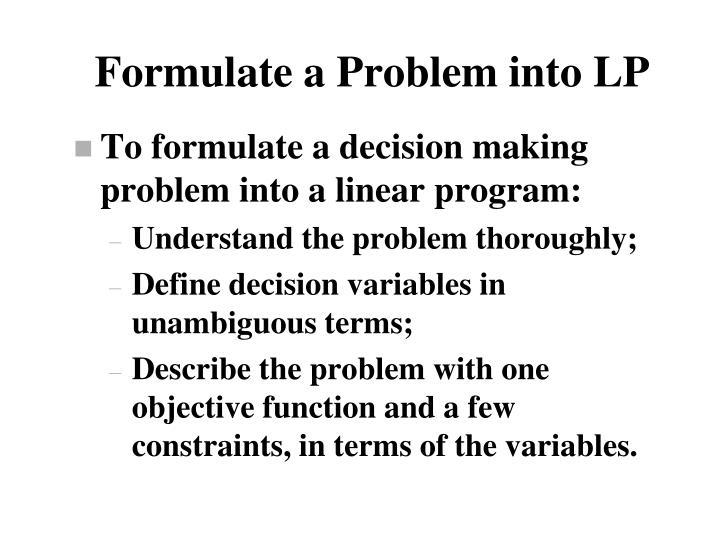 Formulate a Problem into LP