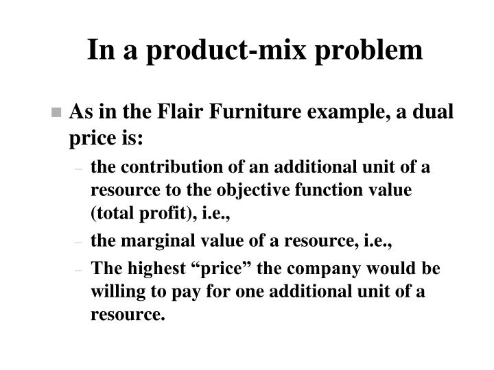 In a product-mix problem
