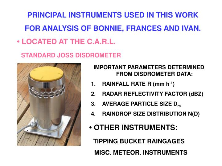 PRINCIPAL INSTRUMENTS USED IN THIS WORK