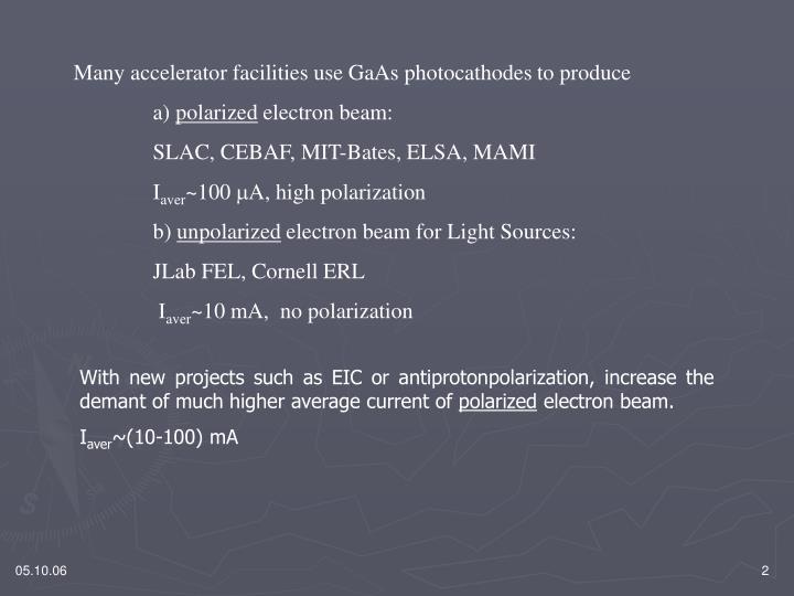 Many accelerator facilities use GaAs photocathodes to produce