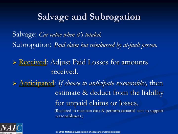 Salvage and Subrogation