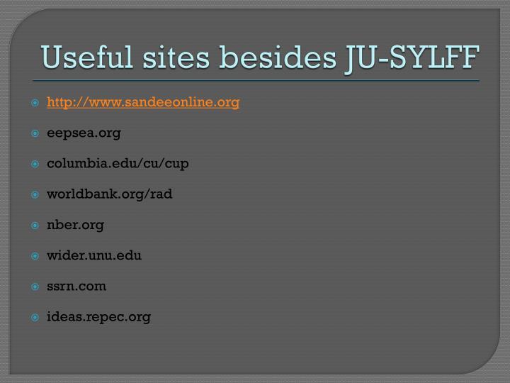Useful sites besides JU-SYLFF