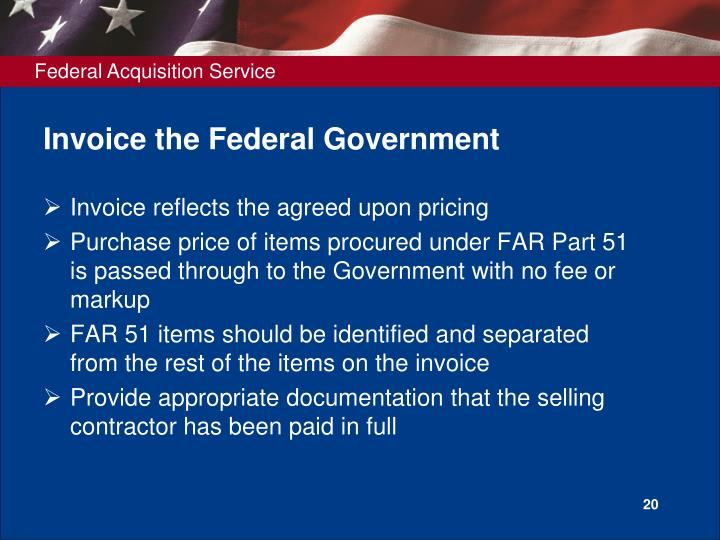 Invoice the Federal Government