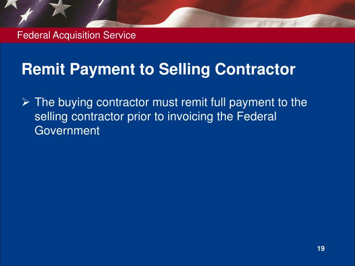 Remit Payment to Selling Contractor