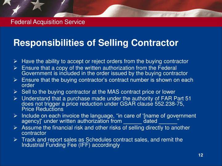 Responsibilities of Selling Contractor