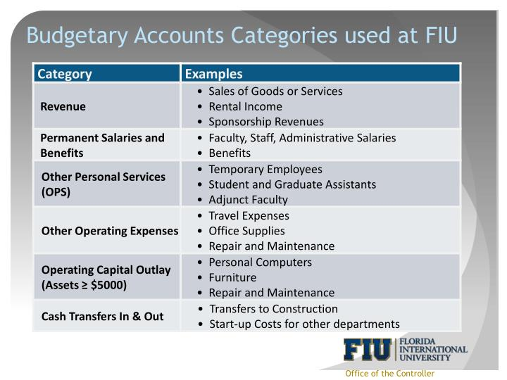 Budgetary Accounts Categories used at FIU