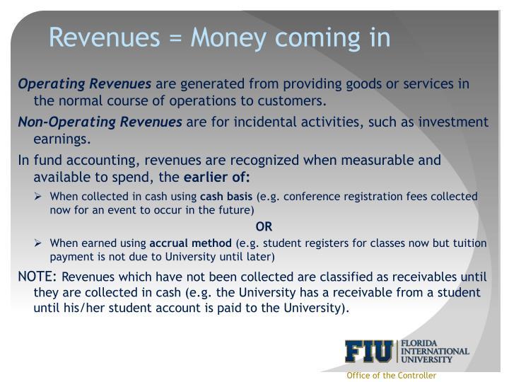 Revenues = Money coming in