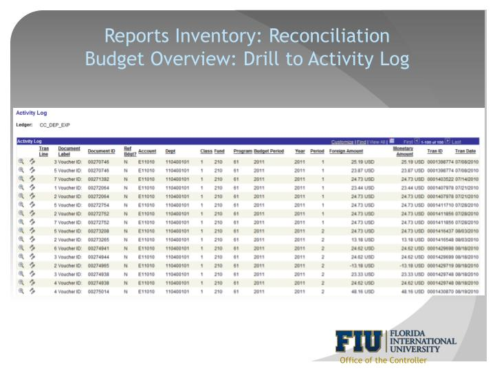 Reports Inventory: Reconciliation