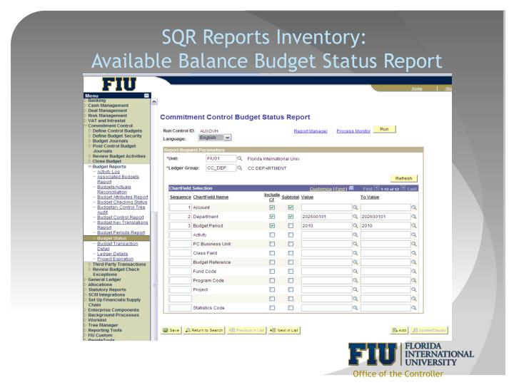 SQR Reports Inventory: