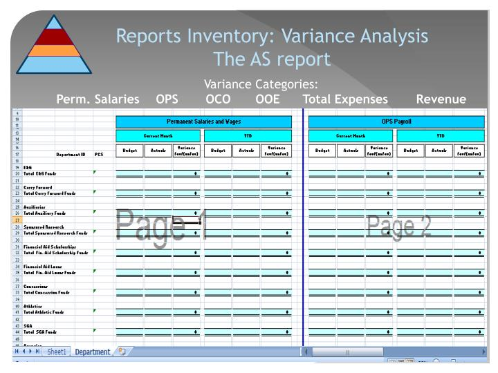 Reports Inventory: Variance Analysis