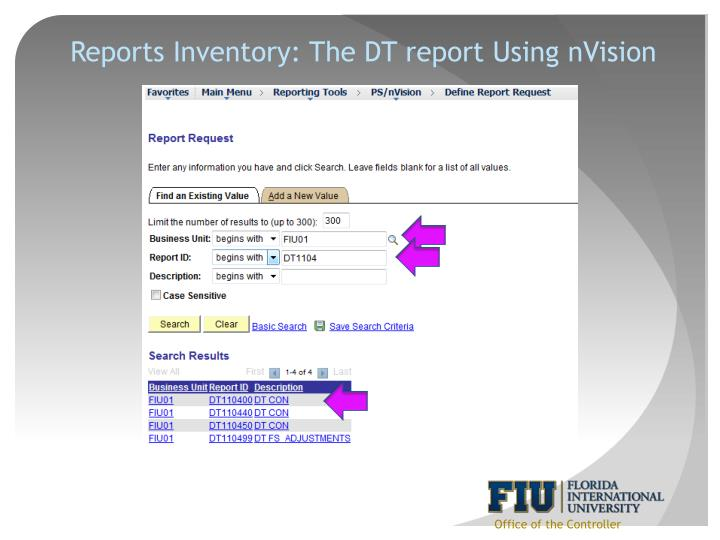Reports Inventory: The DT report Using